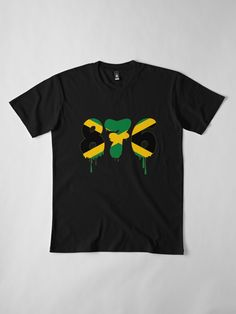 'Jamaica Country Code 876 With The Colour of Jamaican Flag ' Premium T-Shirt by EverythingJA Jamaica Country, Flag Code, Large Prints, Tshirt Colors, Fitness Models, Coding, Fashion Outfits, Barbados, Mens Tops