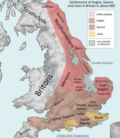 Settlements ca. 600 CE Britain when Germanic had developed into what we call Old English or Anglo-Saxon, covering the territory of most of modern England. History Of England, Uk History, European History, British History, History Facts, World History, Family History, Scotland History, Asian History