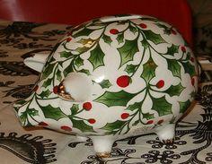 Vintage Piggybank Porcelain Holly Chinz 7L by softlychic on Etsy