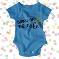 Help your little one celebrate their birthday in style!  All items are handmade and can be customized by choosing the onesie color and the vinyl color. Our onesies also make great gifts!  ** If you would like this in a tshirt, long sleeve shirt or sweatshirt, please request a custom listing **  In the notes section, please let us know what color vinyl you would like for your order. If no vinyl color is specified during checkout, we will automatically print using the design colors shown…