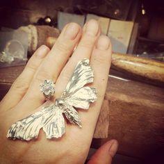Sansa Stark Moth and Poppy Ring, by Lucy Jade Sylvester