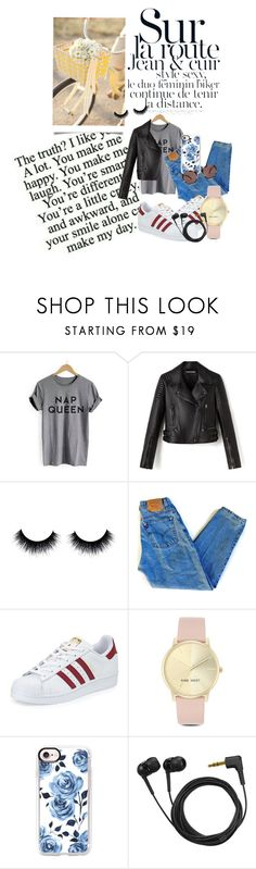 """#outfit #jeans #superstar #leatherjacket #bike"" by nicollestyle ❤ liked on Polyvore featuring Levi's, adidas, Nine West, Casetify, Sennheiser and Oliver Peoples"