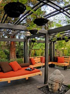 So love this relaxing #deck design. Love swing bed. Check more at www.northcarolinahomes.com
