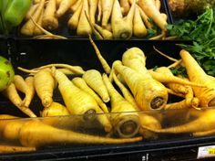 Parsnips! At Super King. So Beautiful. I roasted these with turnips and potatoes and it was delicious. Perfect Winter meal.