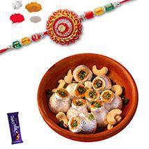 Multi color  Zardosi Rakhi with Kaju Kalash Sweet