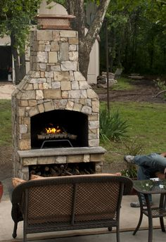 """36"""" Standard Stone Age fireplace in natural thin stone."""