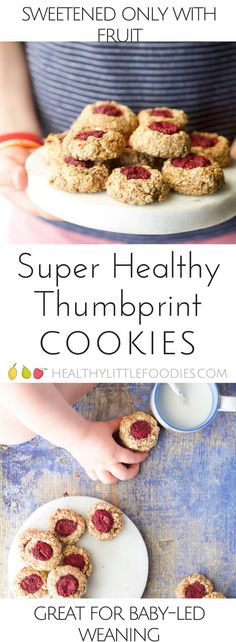 Healthy Thumbprint cookies perfect for baby led weaning or for kids. Made with 5 healthy ingredients they are healthy enough to serve for breakfast! Sweetened only with fruit. Lunchbox friendly.  #babyledweaning #blw #kidfood #kidsfood #kidsnack via @hlittlefoodies