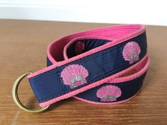 Preppy Cape Cod Canvas pink shell ribbon belt with brass d-ring buckle by Sweetpotatojack on Etsy
