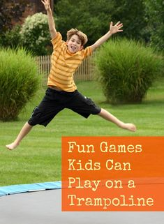 Did you break out the trampoline for the summer or thinking about buying one? Here are some fun games kids can play on a trampoline to keep busy. Fun Trampoline Games, Backyard Trampoline, Fun Games For Kids, Diy For Kids, Kids Fun, Fun Outdoor Games, Indoor Games, Camping Games, Camping Tips