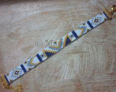 Miyuki bracelet hand-woven beaded bracelet blue gold bohemian ibiza trendy handloom handmade loom beaded bracelet woven beads