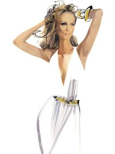 Illustration - David Downton's Portraits of the Best-Dressed List Hall of Fame,  Vanity Fair