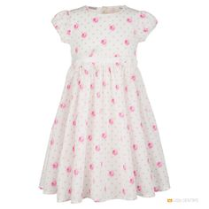 Выбрать и заказать Платье белое с розами SARABANDA белый Италия  в брендовом интернет-магазине детской одежды и обуви Little Gentrys с доставкой по Москве и России!  Высокое качество, лучшие цены для вас!