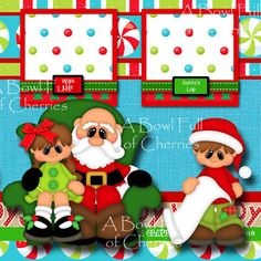 VISITING SANTA ~ CHRISTMAS 2 premade scrapbook pages paper piecing layout CHERRY