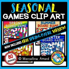 *SPECIAL PRICE* $12 instead of $20! ‪#‎SEASONAL‬ ‪#‎BOARD‬ ‪#‎GAME‬ ‪#‎CLIP‬ ‪#‎ART‬: #SPRING, #SUMMER, #FALL / #AUTUMN AND #WINTER GAME #TEMPLATES+ #SPINNER + GAME #PIECES
