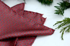 """Pocket square Classic red silk in tiny white paisley with hand rolled edges 15"""""""