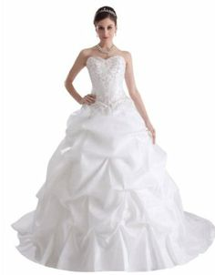 GEORGE BRIDE Princess Sweetheart Embroidery Beading Ball Gown Wedding Dress