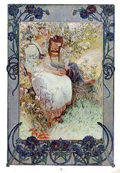 The Beatitudes, with illustrations in color by Alphonse Mucha. Plate 2: Blessed are the pure in heart, for they shall see God. Published in Everybody's Magazine, Christmas, 1906