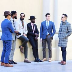 http://chicerman.com  billy-george:  Theyre all wearing their suits brilliantly.  #streetstyleformen