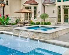 like hot tub with water fall onto bathing deck--add some umbrellas