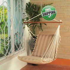 Hangit.co.in - Best Buy Online Hammock Swing Shopping Furniture Store Website in India ON SALE! POLYESTER HAMMOCK HANGING SWING CHAIR - TAN STRIPE