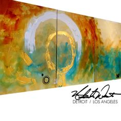 ORIGINAL Large 3 pc Modern Abstract Rustic Fine Art by wescoatart, $300.00