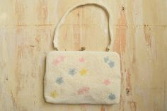 Vintage  1950's Floral Beaded Clutch  | White and Pastel Floral Handbag by…