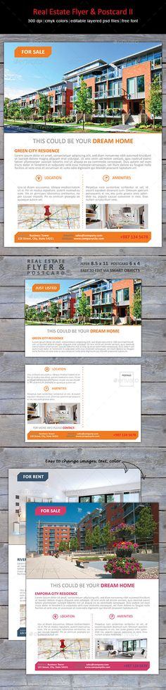 Flyer in clean, modern design to show your listings & marketing postcard to enhance professional look.