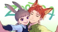 Anime picture with zootopia disney judy hopps nick wilde bachi chan long hair short hair looking at viewer open mouth wide image smile green eyes purple eyes animal ears orange hair grey hair bunny ears fox ears bunnygirl girl Zootopia Human, Zootopia Anime, Nick Wilde, Cartoon As Anime, Anime Manga, Disney Fan Art, Disney Love, Nick Y Judy, Zootopia Judy Hopps