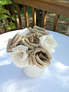 Burlap Bouquet Burlap Wedding Burlap Flowers Floral Arrangement French Farmhouse. $28.00, via Etsy.