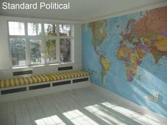 Map Wallpaper A full wall world map mural, somewhere in the house. I WILL have this one day full wall world map mural, somewhere in the house. World Map Mural, World Map Wallpaper, Of Wallpaper, Bedroom Wallpaper, Wall Maps, Wall Mural, Wall Decals, Digital Wall, Cool Ideas