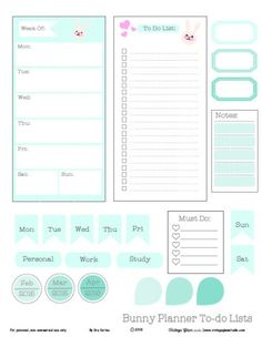 Bunny planner To-Do Lists - Free Printable Download