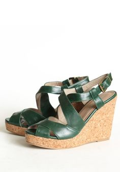 "Chelsea Crew T-time Strappy Wedges In Green 59.99 at shopruche.com. These fabulous forest green sandals with an adjustable faux leather ankle strap and an elevated cork wedge. , ,  Upper: vegan leather with leather lining ,  Rubber sole,  4.5"" heel ,  1"" platform,  Padded footbed"