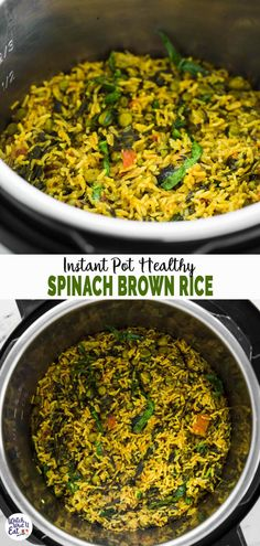 Make this easy and healthy Instant Pot spinach brown rice for a wholesome healthy lunch or dinner. A perfect recipe for busy days taking less than an hour to prepare. | #watchwhatueat #spinach #instantpot #brownrice #glutenfree