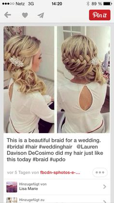 Wedding hair, bridesmaid hair, hair do Wedding Hairstyles For Women, Homecoming Hairstyles, Up Hairstyles, Pretty Hairstyles, Braided Hairstyles, Hairstyle Ideas, Bridal Hairstyle, Braided Updo, Country Wedding Hairstyles