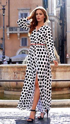 Black White Dress Polka Dot Dress by Markiiza Long Sleeves