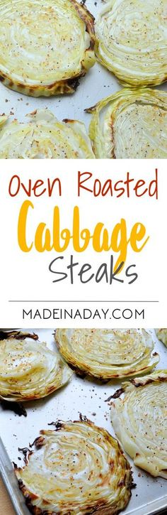 Roast Cabbage slices in the oven until they are tender. Super easy recipe for Oven Roasted Cabbage steaks. Cabbage Recipes, Vegetable Recipes, Vegetarian Recipes, Low Carb Recipes, Cooking Recipes, Healthy Recipes, Roasted Cabbage, Grilled Cabbage, Baked Cabbage