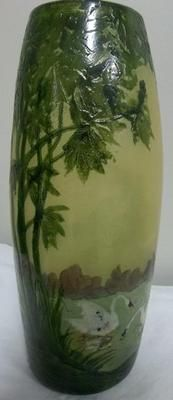 Legras French Art Nouveau Acid Cut Cameo Art Glass Vase Lake Scene | eBay