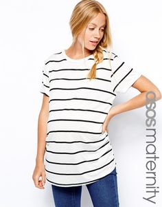 ASOS Maternity Exclusive T-Shirt In Breton Stripe | Simple Striped Maternity Top - A Drop of Style