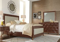 picture of Sofia Vergara Vallejo Cherry 5 Pc King Upholstered Bedroom  from King Bedroom Sets Furniture