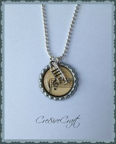 Music pendant and trumpet charm necklace by Cre8iveCraft on Etsy