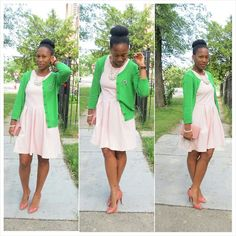 ::OOTD Alpha Kappa Alpha Style:: Monday was my one year AKAversary with the Illustrious Alpha Kappa Alpha Sorority, Incorporated so don't mind me mixing a little pink and green to celebrate. It is such an honor and pleasure to be able to celebrate this wonderful event with 13 FABULOUS women. Sweater - Marshalls Dress - Cynthia Rowley Heels - Zara Watch - ASOS Photo credit: My son :-) Living Simplistically #followprettypearlsinc AKA 1908