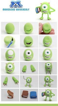 Fimo Fondant Monster Inc. Crea Fimo, Fimo Clay, Polymer Clay Projects, Polymer Clay Charms, Clay Crafts, Monster Inc Cakes, Monster Inc Party, Fimo Disney, Polymer Clay Disney