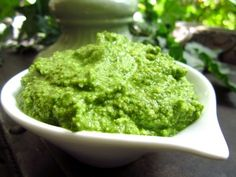 """This is my favorite pesto recipe; rich but healthy due to """"good"""" fats from olive oil and walnuts."""