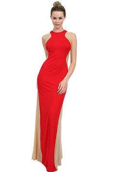The Long Dress with Mesh Cutouts in Red by Nicole Bakti at CoutureCandy.com