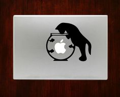 Cat and Fish Bowl Funny Unique Decals Stickers For Macbook 13 Pro Air Decal #RusticDecal