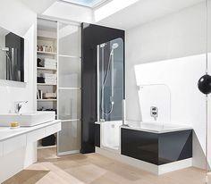 Twinline 2 Baths With Black Glass Panel Http Aquarooms Me