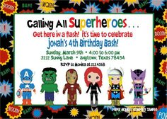 Superhero Birthday Invitations TEmplate