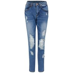 Yoins Boyfriend Rip & Repair Jeans-Blue  S/M/L ($31) ❤ liked on Polyvore featuring jeans, blue, destructed jeans, boyfriend jeans, ripped boyfriend jeans, blue jeans and ripped jeans