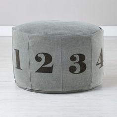 Numbers Pouf (Grey)  | The Land of Nod Instead of ottoman #Nodwishlistsweeps