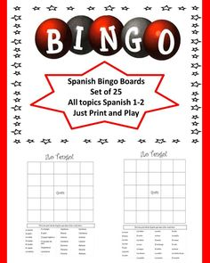 Set of 25 Spanish Bingo Boards covering all topics taught in Spanish 1-2. Easy to use just print and play!